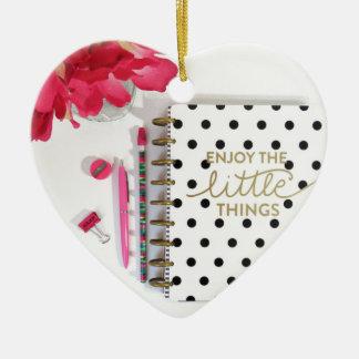 Enjoy the Little Things Ceramic Heart Ornament