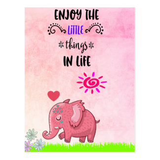 Enjoy The Little Things In Life Typography Quote Postcard