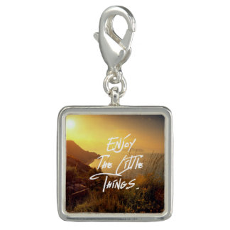 """""""Enjoy the little Things""""  Quote Sunset Sea View Charm"""