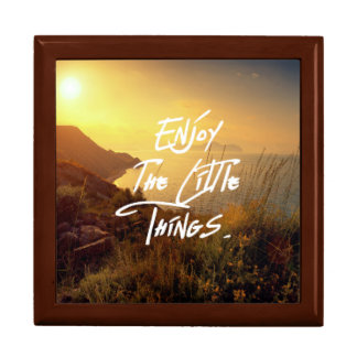 """Enjoy the little Things""  Quote Sunset Sea View Gift Box"