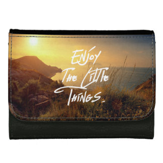 """Enjoy the little Things""  Quote Sunset Sea View Leather Wallet"