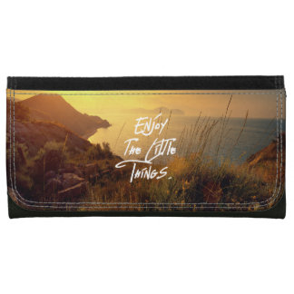 """Enjoy the little Things""  Quote Sunset Sea View Leather Wallets"