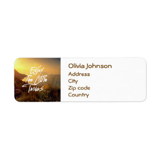 """""""Enjoy the little Things""""  Quote Sunset Sea View Return Address Label"""