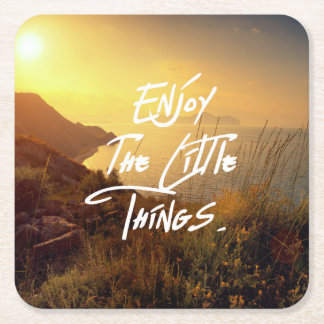 """Enjoy the little Things""  Quote Sunset Sea View Square Paper Coaster"