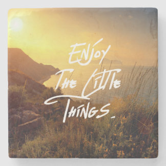 """Enjoy the little Things""  Quote Sunset Sea View Stone Coaster"