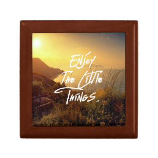 """""""Enjoy the little Things""""  Quote Sunset Sea View Trinket Boxes"""