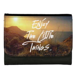 """Enjoy the little Things""  Quote Sunset Sea View Wallets"