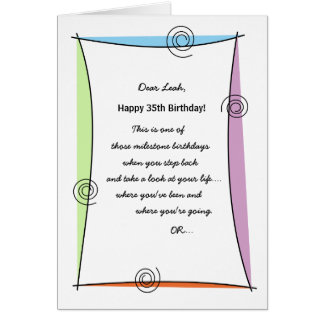 Enjoy the moment 35th Birthday Card