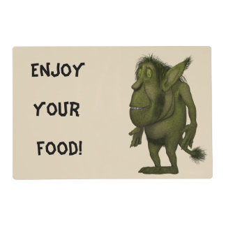 """""""Enjoy Your Food"""" Funny Hairy Ogre Design Placemat Laminated Placemat"""