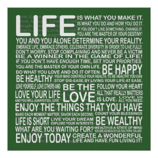 Enjoy your life poster in green posters