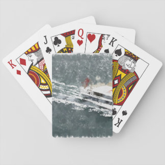 Enjoying on a fast boat playing cards