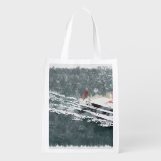Enjoying on a fast boat reusable grocery bag