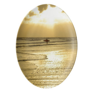 Enjoying The Beach at Sunset Porcelain Serving Platter