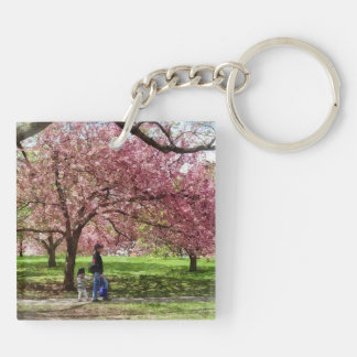 Enjoying the Cherry Trees Keychain