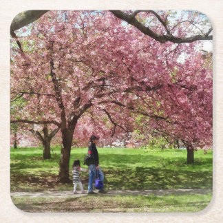 Enjoying the Cherry Trees Square Paper Coaster