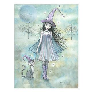 Enjoying the Night  Witch Cat Postcard
