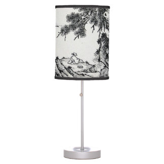 """Enjoying the Pines"" Chinese Ink Brush painting Table Lamp"