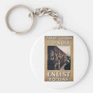 """Enlist"" Old U.S. Military Poster circa 1915 Basic Round Button Keychain"