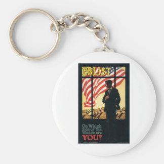 """Enlist"" Old U.S. Military Poster circa 1917 Basic Round Button Keychain"