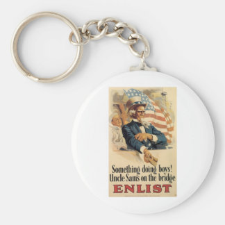 """Enlist"" Old U.S. Military Poster circa 1917 Key Chain"