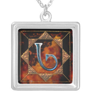 """enochian letter """"ged"""" (g) silver plated necklace"""