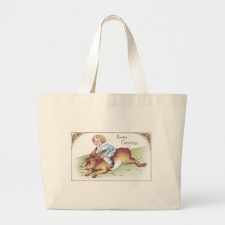 Enormous Easter Bunny Ridden by Tot Large Tote Bag