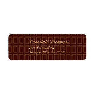 Ensemble de barre de chocolat étiquettes d'adresse retour