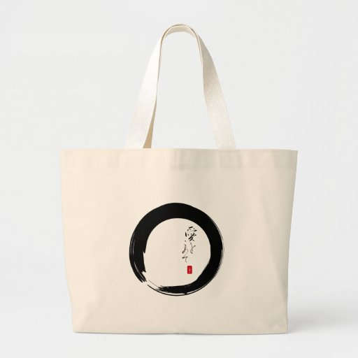 "Enso with ""With Love"" kanji text Bags"
