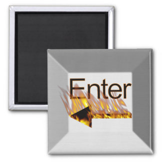 Enter Computer Keyboard Key on Fire Square Magnet