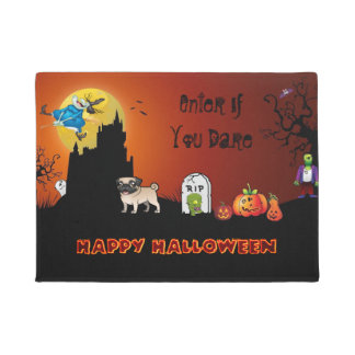 Enter If You Dare Happy Halloween ( Pug) Doormat