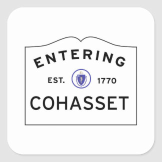 Entering COHASSET MASSACHUSETTS Street Sign Square Sticker