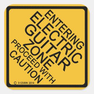 Entering Electric Guitar Zone Square Sticker