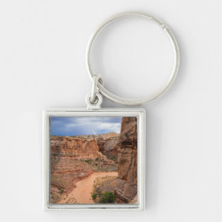 Entering Horseshoe Canyon - Utah Silver-Colored Square Keychain