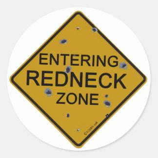 Entering Redneck Zone Classic Round Sticker