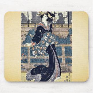 Entertainer on a veranda by Kikukawa,Eizan Mouse Pad