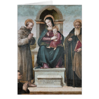 Enthroned Madonna and Child with Saints Card