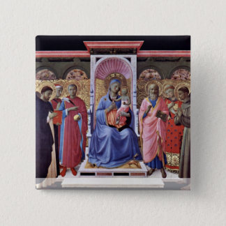 Enthroned Virgin And Child With Saints 2 Inch Square Button