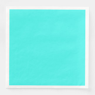 Enthusiastic Aqua Blue Turquoise Color Paper Dinner Napkin