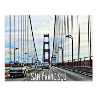 Entraînement à travers golden gate bridge carte postale