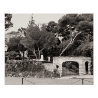 Entrance to a grand villa, Nice, French Riviera Poster
