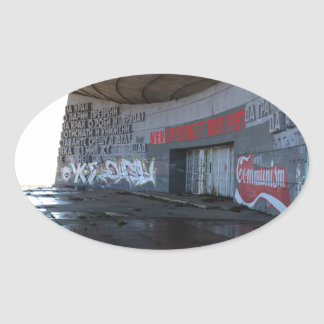 Entrance to Buzludzha, Balkan Mountains, Bulgaria Oval Sticker
