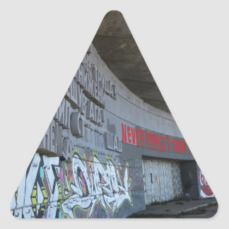 Entrance to Buzludzha, Balkan Mountains, Bulgaria Triangle Sticker
