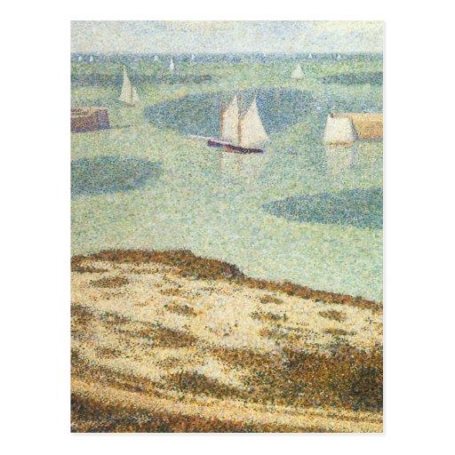 Entrance to the Harbor, Seurat Vintage Pointillism Post Card