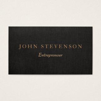 Entrepreneur Professional Black Linen Look Vintage Business Card