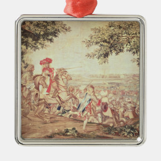 Entry of Louis XIV  into Dunkirk Silver-Colored Square Ornament