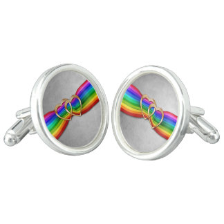 Entwind Gold Hearts on Rainbow Ribbon 1-Cuff Links Cufflinks