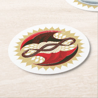 Entwined Dragons Round Paper Coaster