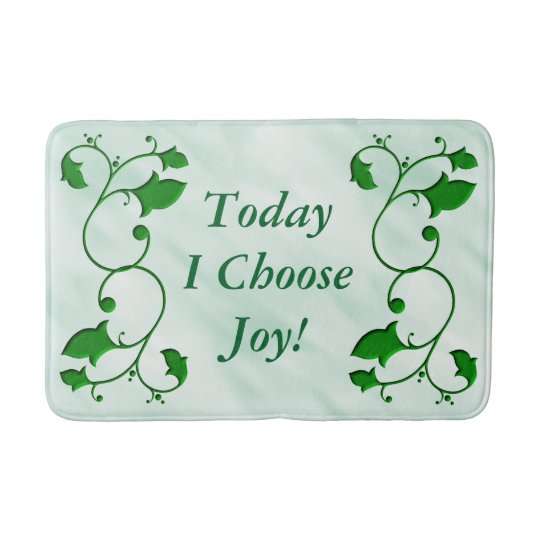 Entwined Green Leaves Today I Choose Joy Quote Bath Mat