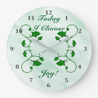 Entwined Green Leaves Today I Choose Joy Quote Large Clock