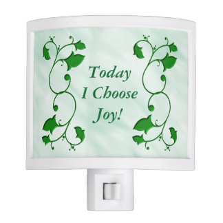 Entwined Green Leaves Today I Choose Joy Quote Night Lite